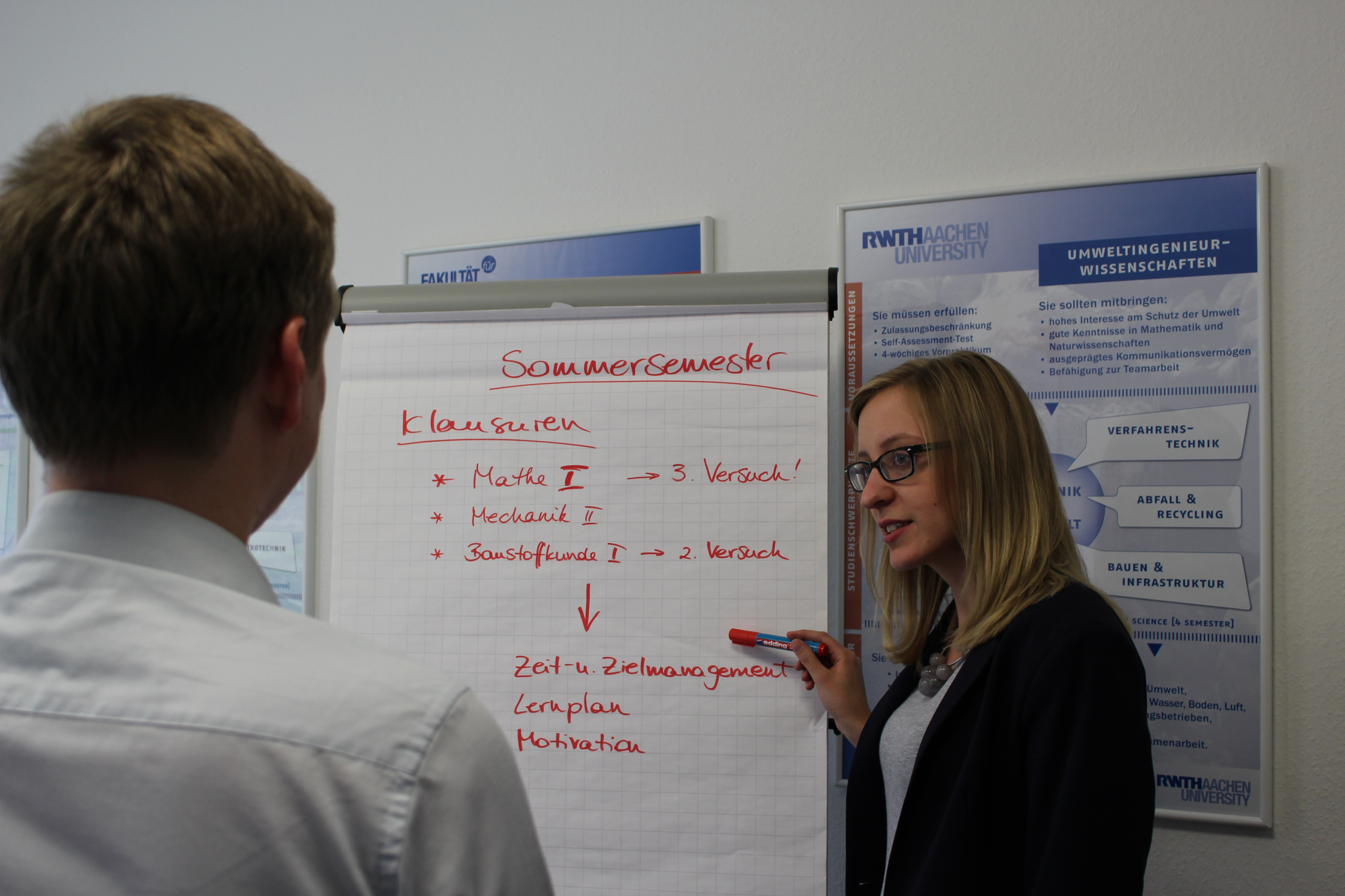 Advising Situation infront of a flipchart.